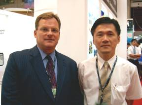 Rohm and Haas president and CEO Nick Gutwein (left) and plant manager Cliff Chen