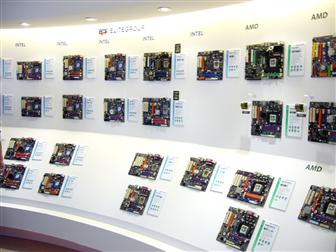 A selection of the motherboards ECS is displaying at Computex Taipei 2007