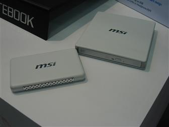 MSI Wind Notebook accessories inlcluding a DVD drive and a hard drive enclosure
