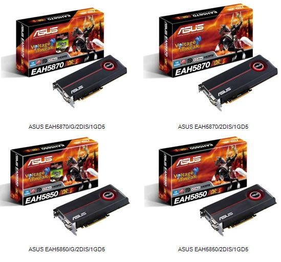 Asustek Radeon HD 5800 series graphics cards