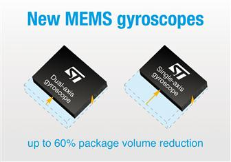 STMicroelectronics newest single-axis and two-axis MEMS gyroscopes