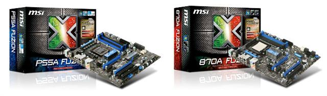 MSI P55A Fuzion for Intel platform and 870A Fuzion for AMD platform