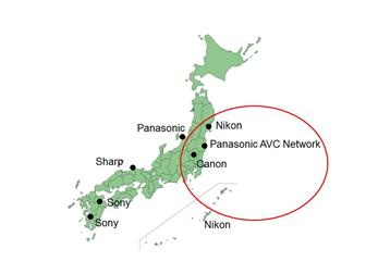 Japan DSC makers manufacturing locations, (including CCD)