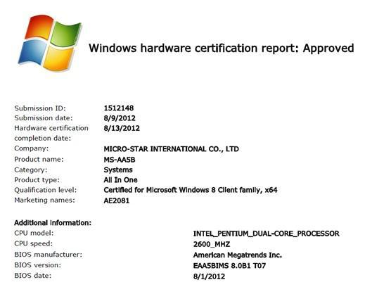 Windows hardware certification report: Approved