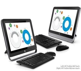 HP ProOne 400 AiO touch (left) and non-touch (right) all-in-one PCs