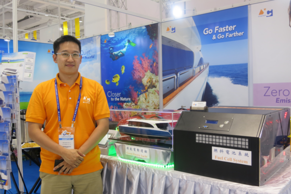 Mark Huang, General Manager of YC Synergy, unveils the company's latest fuel cell system at the Taiwan International Boat Show