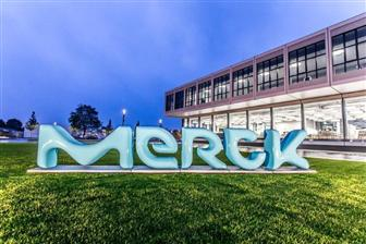 Merck's new branding image in front of its Innovation Center at the headquarter in Germany