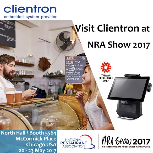 Clientron to display POS terminals with NFC multi-payment solution at NRA Show 2017