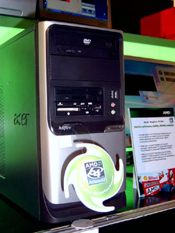 Acer Aspire T410, desktop system based on the new AMD Athlon 64 X2 dual-core processor at Computex 2005 in Taipei
