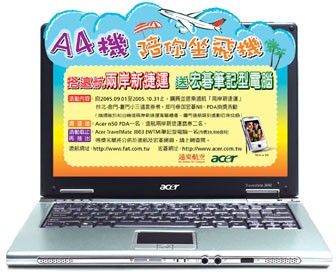 Winning a Acer TravelMate 3000 by taking a flight