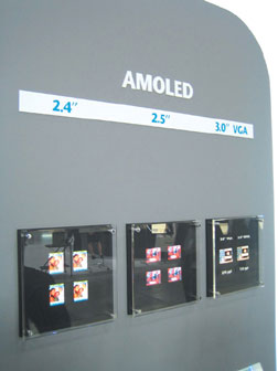 AUO displays a variety of newly developed AM OLEDs at FPD International 2005 in Yokohama, Japan