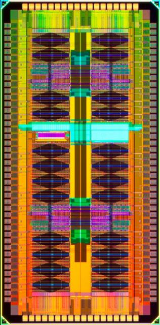 This prototype eDRAM, or Embedded Dynamic Random Access Memory chip, contains over 12 million bits and high-performance logic