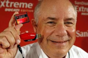SanDisk CEO with new Ducati branded CF card and USB drive