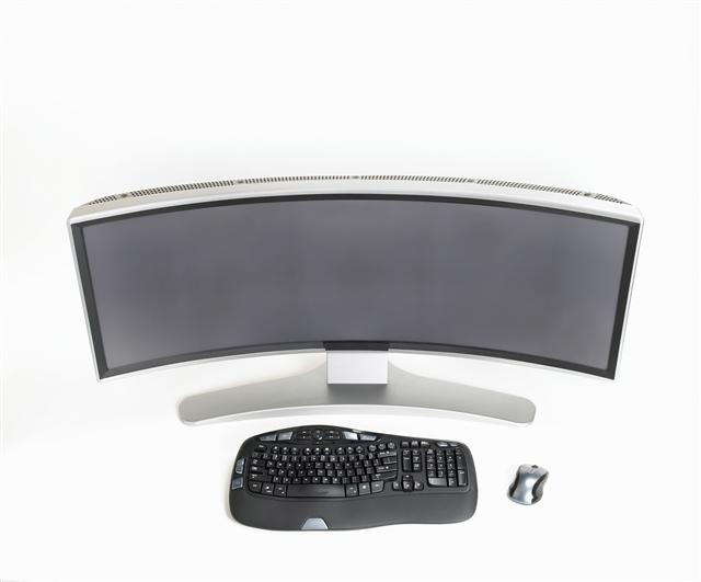 Ostendo CRVD display with keyboard and mouse