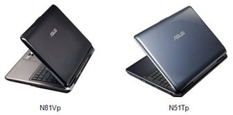 Asustek N81Vp and N51Tp multimedia notebooks