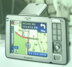 The Mio 169 enables voice guidance as well as visual GPS-based navigation