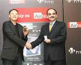 HTC CEO Peter Chou and Syed Safawi, president of mobile sevice unit of Bharti Airtel
