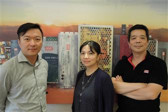 Alfie Yu (left), Yvonne Chen (center) and Alex Tsai (right), Mean Well executives