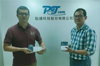 PTCom Technology founder JR Cho (right)  Photo: Chloe Liao,  Digitimes, October 2018