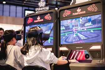Pumpkin Studio-developed arcade VR game machines, with players wearing VR headsets.