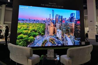 A 216-inch 8K RGB fine-pitch mini LED display showcased by Epistar and Leyard jointly at CES 2020