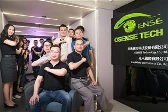 Osense CEO Joseph Wang (center) and development crew