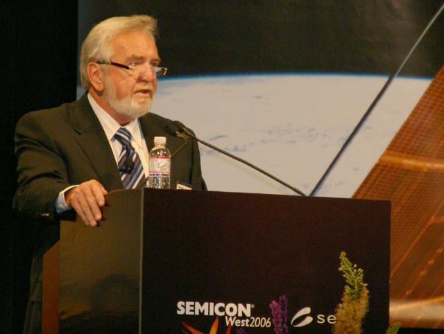 LogicVision president and CEO Jim Healy speaking at SEMICON West 2006