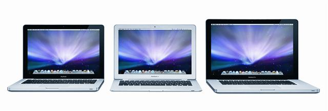 Apple's new MacBook (left), MacBook Air (center) and MacBook Pro (right)