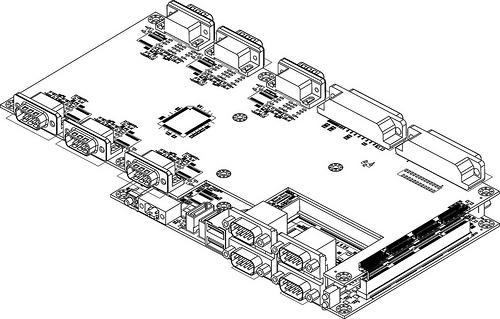 A technical drawing of Em-ITX board and expansion module