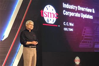 TSMC CEO CC Wei hosting the company's technology forum in Hsinchu