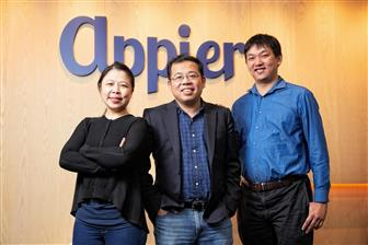 Three co-founders and management executives of Appier, (from left)