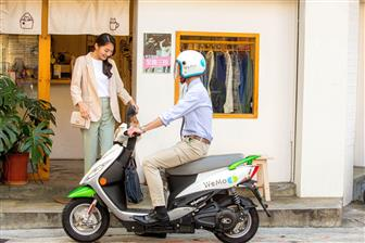 A WeMo rental electric scooter